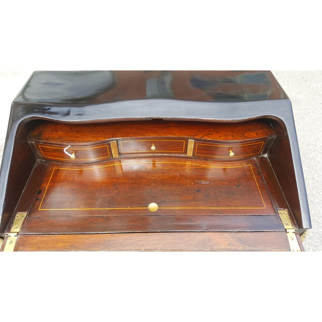 Gold 19th Century French Louis XV Black Lacquer Secreatary Desk For Sale - Image 8 of 12