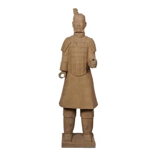 Antique Chinese Reproduction Life Size Terra-Cotta Warrior For Sale
