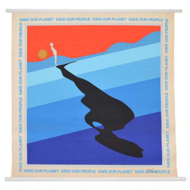 """Ernest Trova 1970s Vintage Ernest Trova """"Save Our Planet Save Our People"""" 1971 Sponsored by Olivetti Large 38"""" X 28"""" Serigraph / Silkscreened Poster For Sale - Image 4 of 4"""