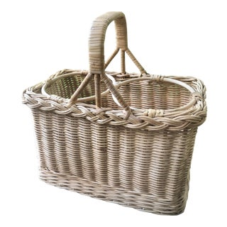 Natural Woven Wicker Bamboo Rattan Wine Carrier Basket For Sale