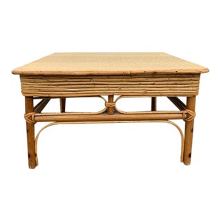 Boho Chic Rattan and Basketweave Square Table For Sale