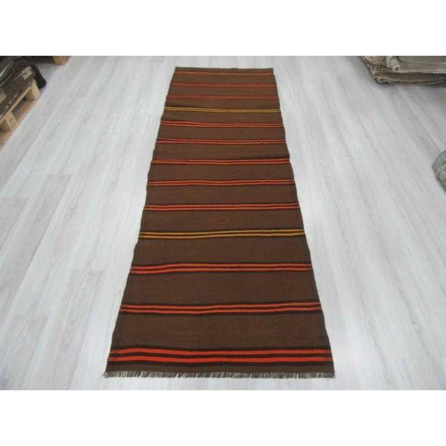 Islamic Vintage Orange & Yellow Striped Kilim Runner Rug - 3′2″ × 9′2″ For Sale - Image 3 of 6