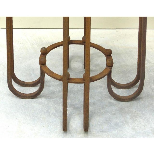 French Art Deco Wrought Iron Marble Top Tables by Paul Kiss - A Pair For Sale - Image 9 of 11