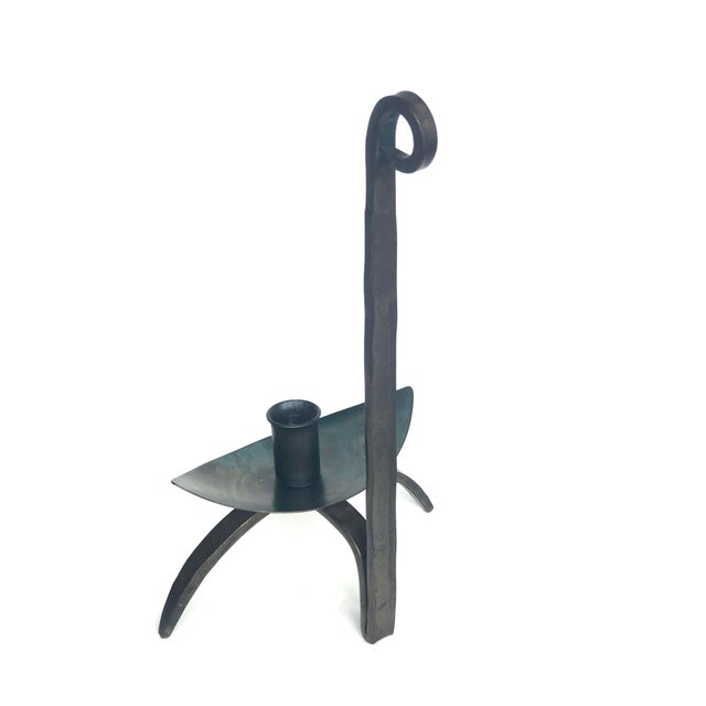 Mission Early 20th Century Hand-Forged Iron Candle Holder For Sale - Image 3 of 13