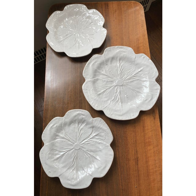 1980s Vintage Bordallo Pinheiro, White Majolica Cabbage Plates - Set of 3 For Sale - Image 11 of 11