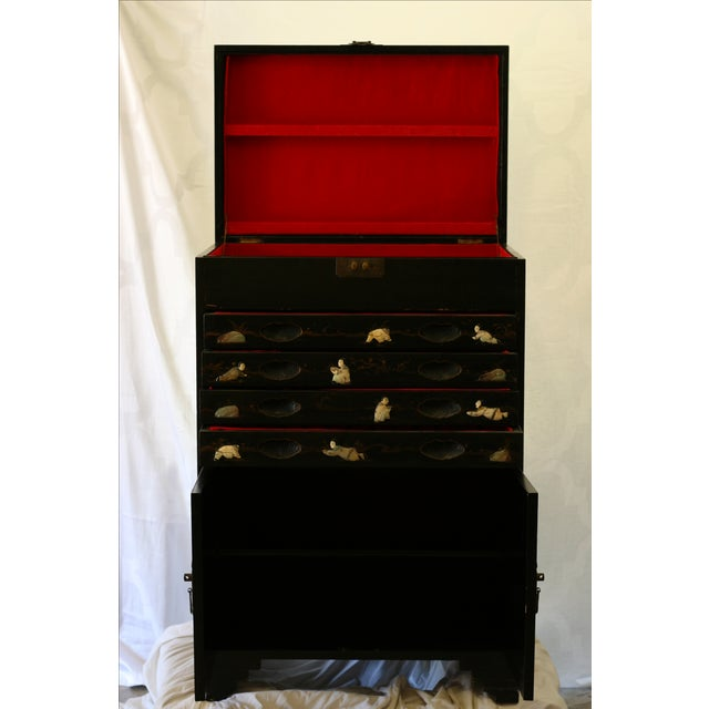 Antique Chinese Black Lacquer Pictorial China Cabinet - Image 3 of 10