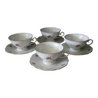 Vintage Bavarian Scattered Rose Pattern Gold Rimmed Teacups and Saucers - Set of 8 For Sale