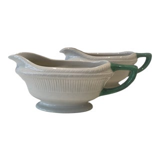 Vintage Staffordshire Shenango Pottery White Green Gravy Boat Sauce Bowl, a Pair For Sale