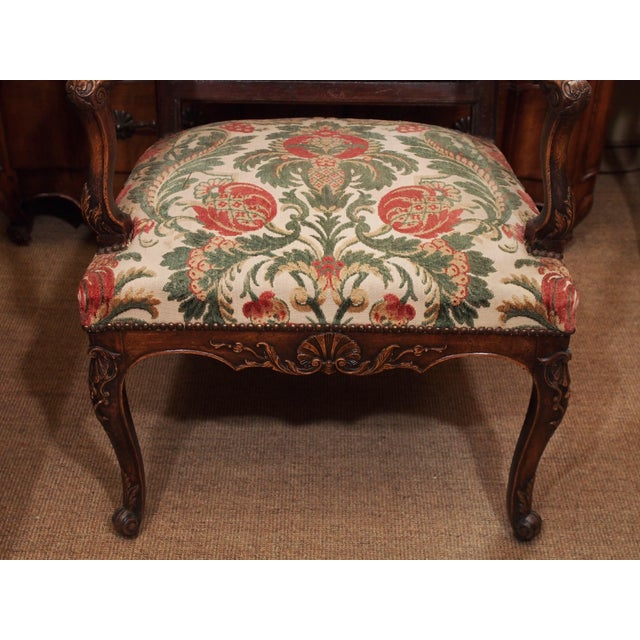 19th Century Walnut French Fauteuil For Sale - Image 4 of 9