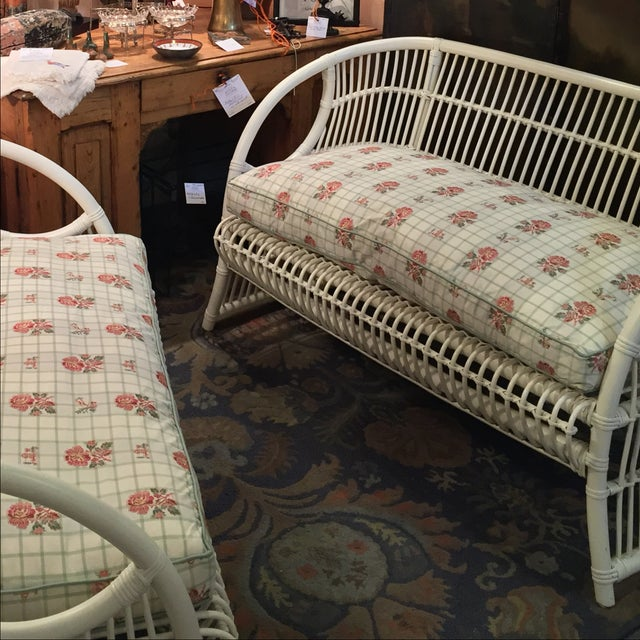 White Rattan Love Seats - A Pair - Image 5 of 8