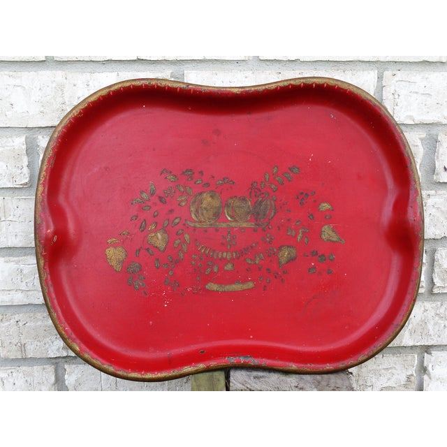 English Hand Painted Red & Gilt Tole Tray For Sale - Image 3 of 5