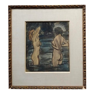 """Max Thalmann 1930s """"Naked Beauties"""" Bathing Outdoors- Painting For Sale"""