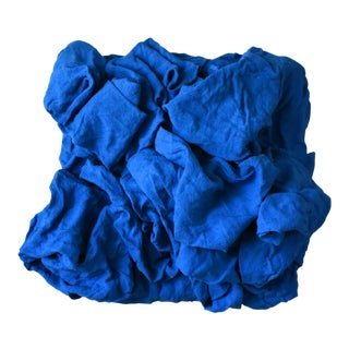 """Electric Blue Folds"" Mixed Media Wall Sculpture For Sale"