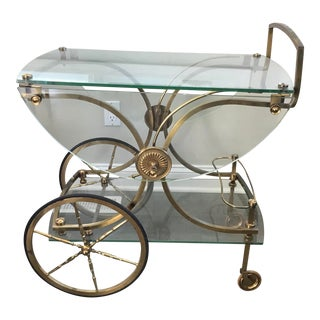 Vintage Maison Charles Mid Century Brass Rolling Bar Cart For Sale