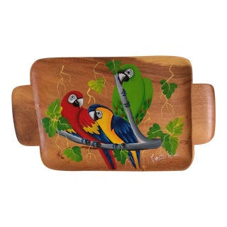 Hand Carved Wooden Tray With Hand Painted Parrots - Made in Costa Rica For Sale