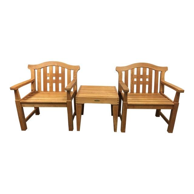 Smith & Hawken Teak Lawn Chair & Table Set | Chairish