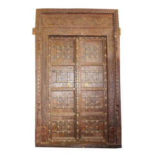 Antique Indian Carved Wooden Door & Frame For Sale