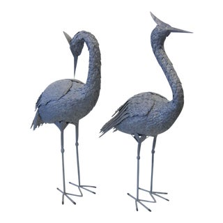 1980s Smith + Hawken of California Metal Cranes - a Pair For Sale