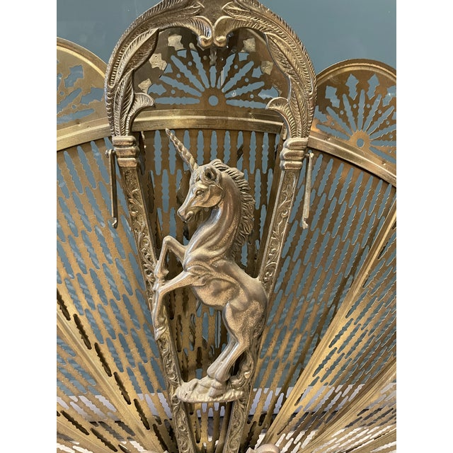 1970s Brass Peacock Fireplace Screen With Unicorn For Sale In Los Angeles - Image 6 of 9