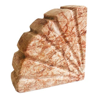 Vintage Pink Stone Seashell Bookend For Sale