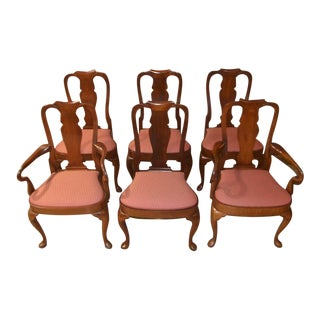 Vintage Queen Anne Solid Mahogany Shaped Dining Chairs - Set of 6