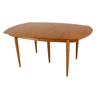 John Stuart Mid-Century Modern Walnut Dining Table with Two Leaves For Sale
