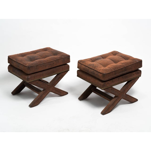 Gold Billy Baldwin Style X-Benches - a Pair For Sale - Image 8 of 10