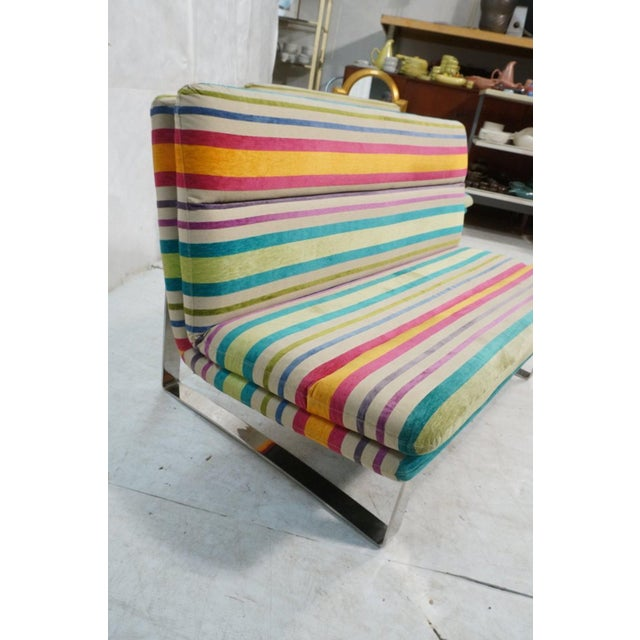 Artifort Set of 2 Kho Liang Ie for Artifort Awning Striped Chenille Sofas For Sale - Image 4 of 8