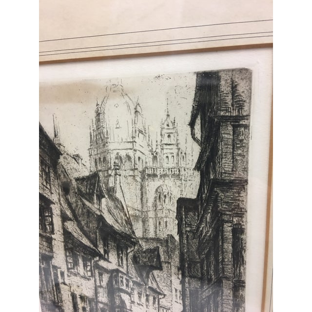 European City Street by Cathedral Etching For Sale - Image 4 of 8