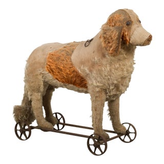 Antique Steiff Mohair Dog Pull Toy C.1910 For Sale