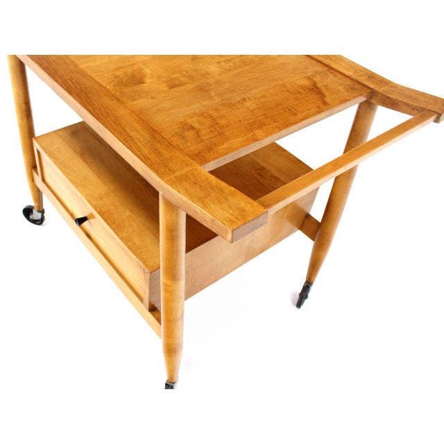 Early 20th Century Mid-Century Modern Solid Birch Cart Serving Table For Sale - Image 5 of 10