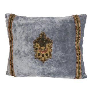 Blue Gray Pillows With French Applique - a Pair