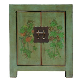 Distressed Grass Green Lacquer Graphic Side End Table Nightstand For Sale