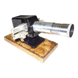 Kodak Small Vintage Slide Projector Circa 1939 on Old Polished Travertine Base For Sale