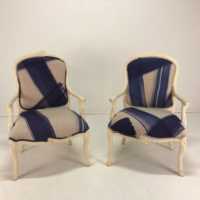 Gorgeous pair of Italian faux bois arm chairs in new blue and cream graphic upholstery.