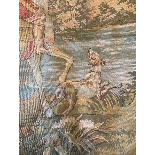 1970s Tapestry of Renaissance Gentleman and Lady on Horseback For Sale - Image 5 of 8