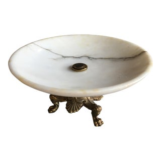 Vintage White Marble Dish on Brass Stand