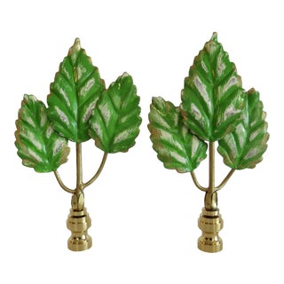 Patina Finish Green Triple Leaf Finials, Pair by C. Damien Fox For Sale