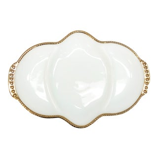 Mid Century Anchor Hocking Fire Ware White & Gold Dish