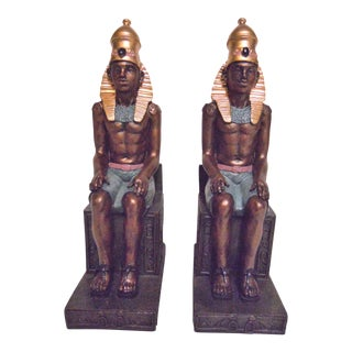 Hand Painted Egyptian Pharaoh Bookends - A Pair