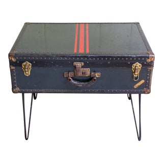 1930s Industrial National Vulcanized Fibre Co Trunk Side Table For Sale