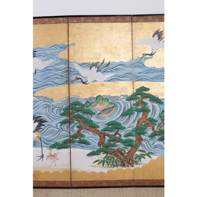 Blue Japanese Six Panel Screen of Cranes by the Sea For Sale - Image 8 of 13