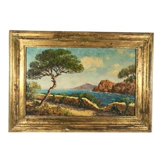 1940s Vintage Suzanne Marie Marnac Mediterranean Coastal Landscape Oil on Board Painting For Sale