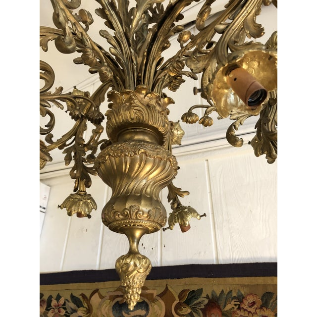 Metal Rococo 18-Light Cast Gilt Bronze Chandelier For Sale - Image 7 of 12