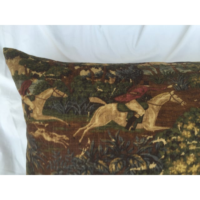 English Fox Hunt Linen Pillows - Pair - Image 7 of 8