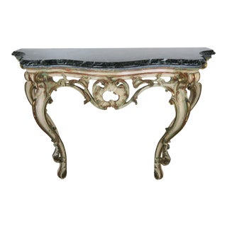 Serpentine Shaped Painted and Parcel-Gilt Console With Marble Top, Circa 1930 For Sale