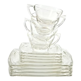 Vintage Square Glass Dinnerware, 12 Pcs