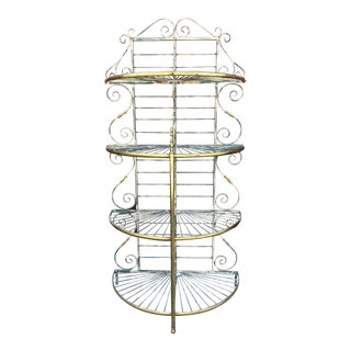 1950s French Provincial Iron & Brass Column Bakers Rack For Sale
