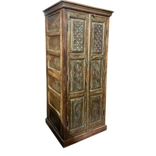 1920s Rustic Carved Armoire Cabinet For Sale