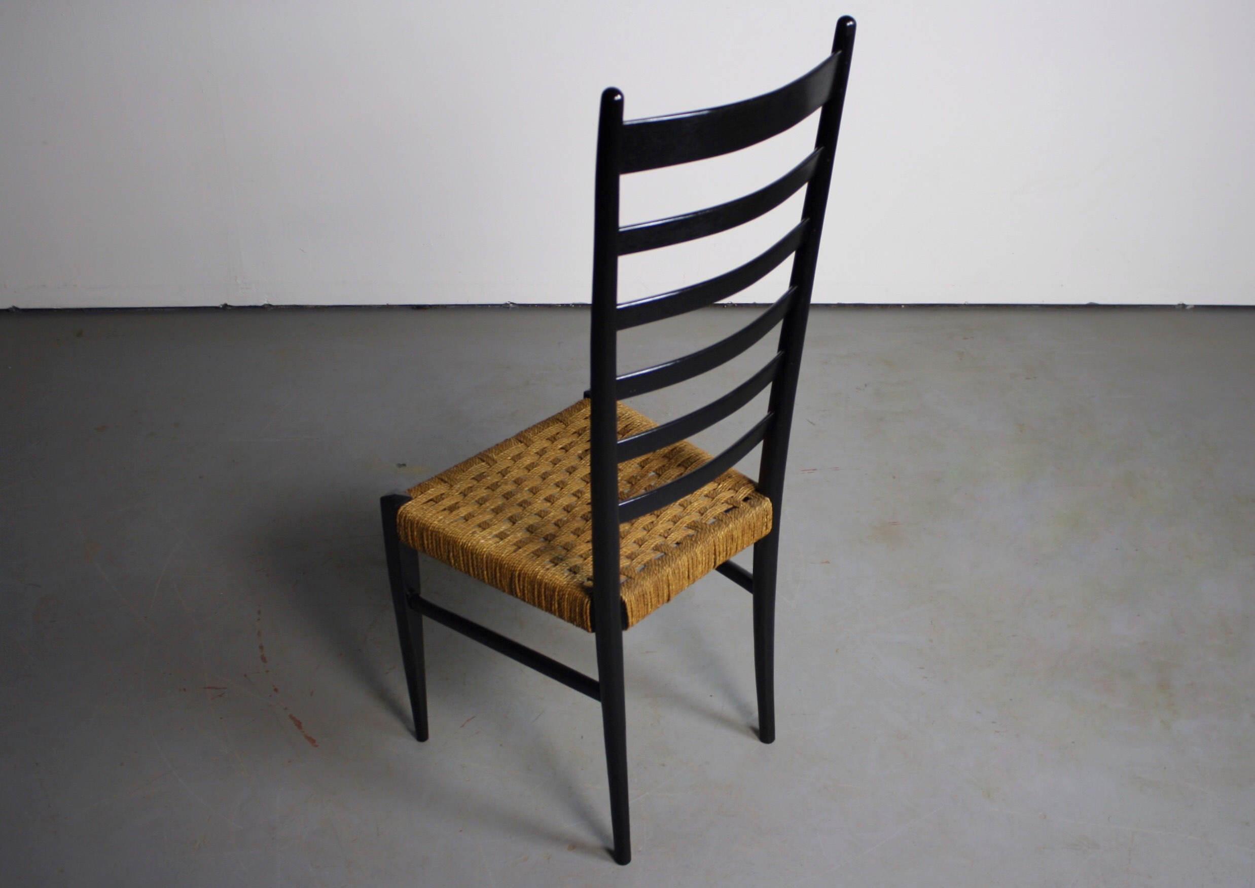 Gio Ponti Italian Modern Woven Rope Seat U0026 Ladderback Chair   Image 3 ...